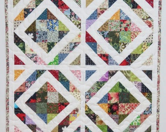 Pieced and Quilted Table Topper or Wall Hanging, Traditional Scrappy Patchwork, Half Square Triangles
