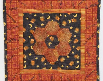Quilted Table Topper, Centerpiece, English Paper Pieced Hexagons, Halloween Burnt Orange and Black