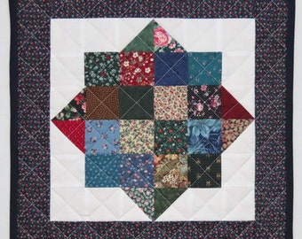 Quilted Pieced Table Topper, Scrappy Table Mat, Traditional Country