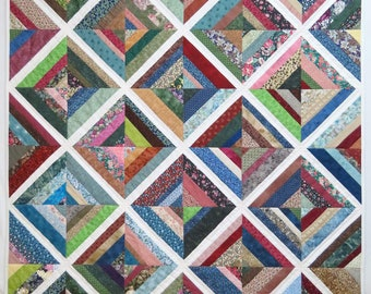 Lap Quilt or Throw, Traditional Scrappy Quilt, String Pieced