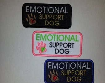 """One MINI Emotional Support Dog 1.5 x 3"""" U-Pick Colors Embroidered Sew-On Patch"""