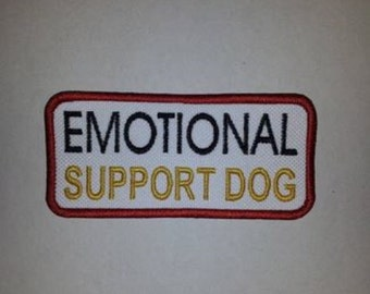 Emotional Support Dog - White Embroidered Sew On Patch