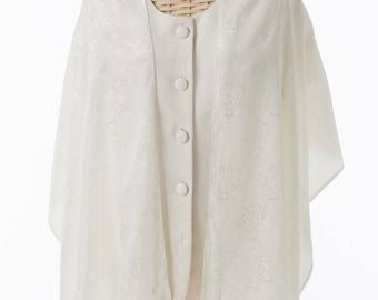 Luxurious Handmade Ivory Silk Tallit