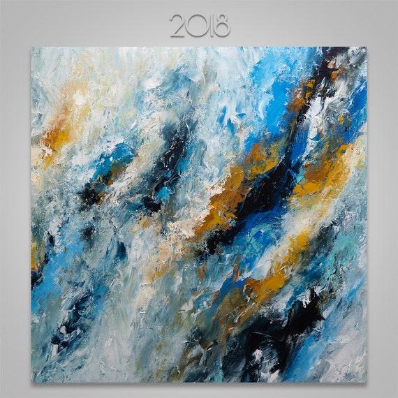 Peinture acrylique abstraite de carré sur