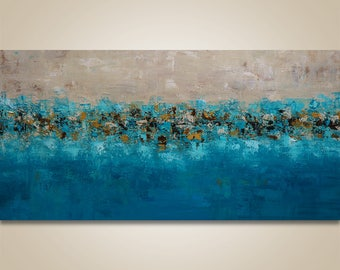 Large Impasto Painting Abstract Wall Art Abstract Landscape Abstract Painting, Acrylic painting, original painting, canvas art Teal painting