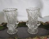 Vintage Echt Bleikristall Footed Vase Genuine Lead Crystal Toothpicks Holder Three Birds Western Germany Set of 2