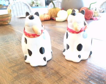 Coco Dowley Ceramic Spotted Dog Eating Cookie Salt & Pepper Shakers