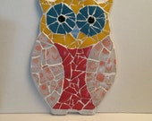 Owl mosaic made from vintage pyrex