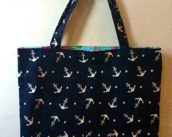 Anchor Print Large Tote
