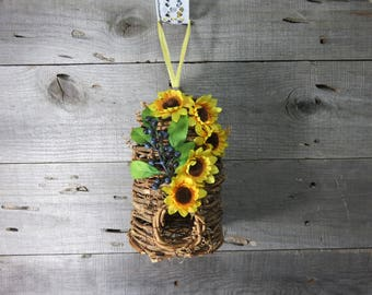 Grapevine Bee Skep Flower Arrangement Yellow Black Eyed Susan Berries Yellow Dyed Seam Binding Hanging Floral Arrangement