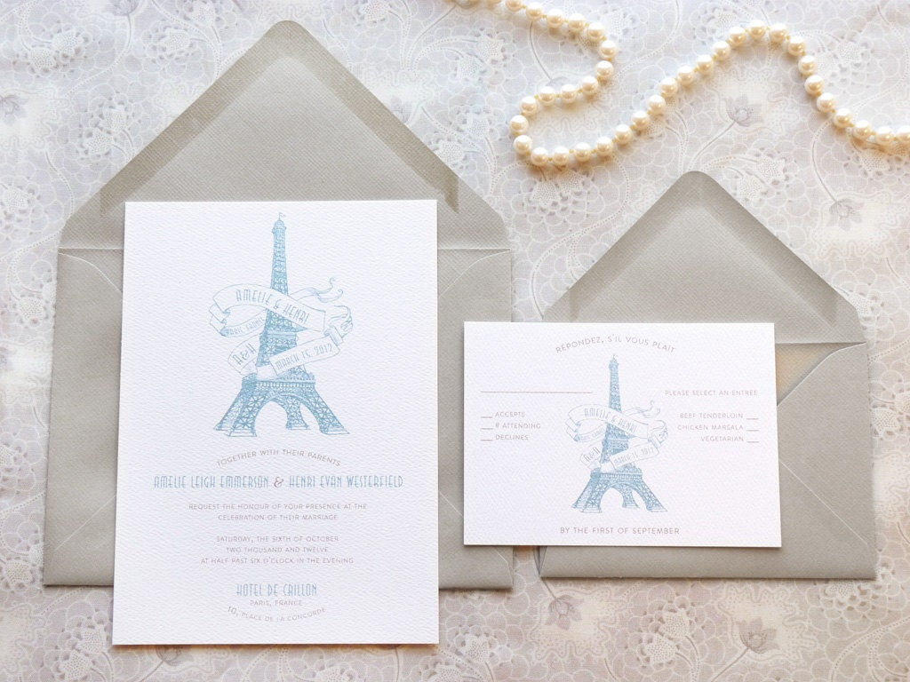 Eiffel Tower Paris Printable Wedding Invitations French | Etsy