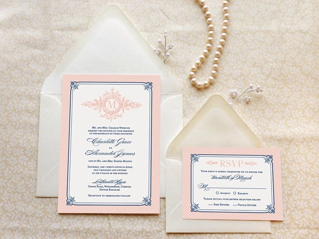 Navy And Gold Wedding Invitations: Formal Pink And Navy Monogram Printable Wedding