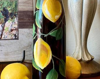 Lighted wine bottle. Lighted bottle. Kitchen decor. Patio light. Summer decor. Lemons. LED lights. Housewarming gift. Summer home decor