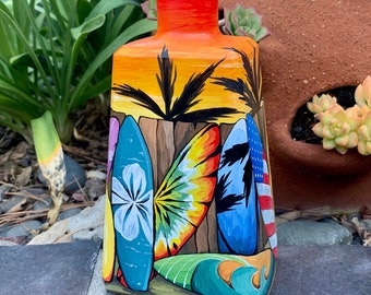 Lighted Wine Bottle. Surf's Up! Table Centerpiece. Gift for Him. Gift for Her. Patio Decor. Summer home decor. Nautical decor