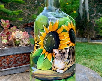 Lighted Bottle. Table Centerpiece. Gift for Her. Gift for Him. Housewarming Gift. Birthday Present. Patio Decor. Cat lovers. Country accents
