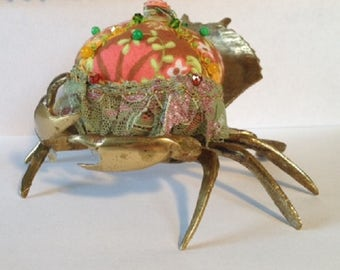 OOAK Handmade Large Beaded Embroidered Quilteru0027s Sewing Pin Cushion Brass  Sea Crab Moss Green Tulle Floral