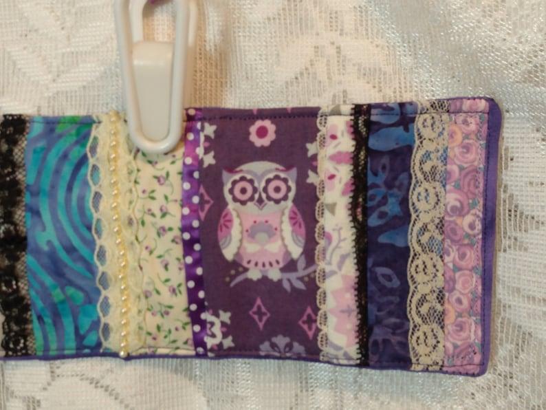 Owl Fabric Patchwork quilted cuff bracelet for 7.5-8 wrist Fiber Art lace trims purple batik accents multi-color fiddle-comfort 9.5 x 3.5