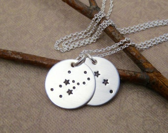 Two Constellation necklace - Couples or Kids birth signs - Modern Mommy necklace - Custom constellations - Hand stamped sterling silver