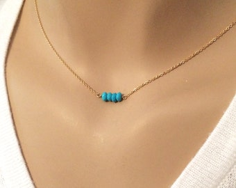 Dainty Turquoise necklace - Tiny Beaded Choker - Layering Jewelry - Custom birthstone necklace - Necklace for women