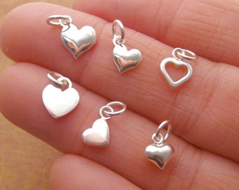 Vermeil Heart Charms Small 6mm Puffed Gold Heart Charms in Brushed Satin Finish  2 Hearts C47V Oakhill Silver Supply
