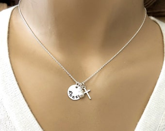 Dainty Personalized Name and Cross necklace - First Communion Gift - Girls Cross Necklace - Small name and cross charm necklace