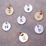 """Gold initial charm - Silver initial charm - Small letter pendant in gold OR silver - Dainty 3/8"""" disc tag - Personalized charm"""