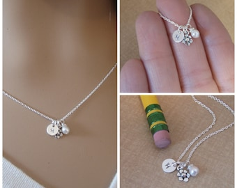 Tiny flower girl necklace  - Tiny initial, flower and birthstone necklace - Personalized little girl necklace - Photo NOT actual size