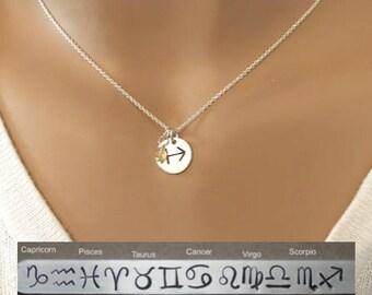 Dainty Horoscope Zodiac necklace - Sagittarius, Capricorn, Aquarius, Pisces, Aries, Taurus, Gemini, Cancer, Leo, Virgo, Libra, Scorpio