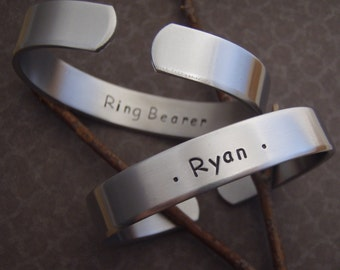 Ring Bearer gift - Boy's name bracelet - Page boy gift - Bible Bearer gift - Aluminum cuff bracelet for little boys - Photo NOT actual size