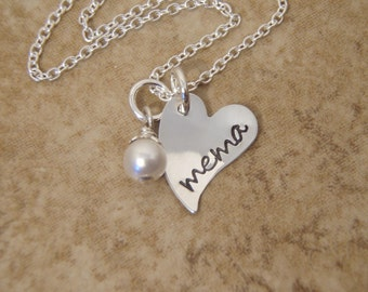 Mema, Mimi, Nana necklace - Dainty, Petite, Small Heart and birthstone accent - Personalized jewelry - Photo NOT actual size