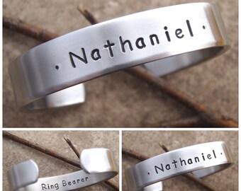 Boy's name bracelet - Ring bearer gift - Personalized boy bracelet - Jr. Groomsman gift - Page boy - Flower boy gift - Boys Aluminum Cuff