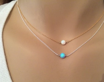 Dainty Opal necklace - White opal necklace - Blue opal necklace - October birthstone - Lab created opal on silver, gold, or rose gold