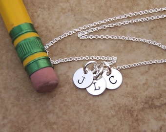 Teeny, Tiny initial necklace - Mom necklace - Kids initials - Dainty 6mm disc sterling silver necklace - Photo NOT actual size