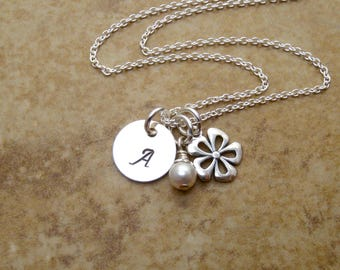 Dainty flower girl necklace - Personalized initial and birthstone necklace - Sterling silver charm necklace - Personalized kids