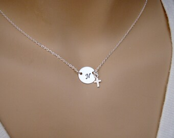 Dainty initial necklace - Tiny cross necklace - Sterling silver personalized - Goddaughter Godmother gift - Choker necklace - Custom length