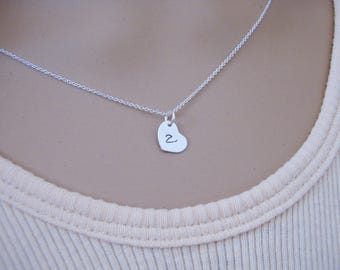 Tiny heart necklace - Tiny initial necklace - Sterling silver or Gold heart initial necklace - Photo NOT actual size