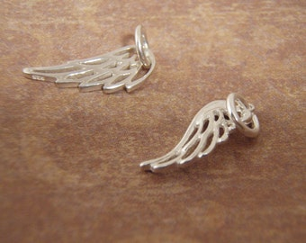 Angel wing charm add on - Small wing charm - Sterling silver wing charm of your choice - Photo NOT actual size