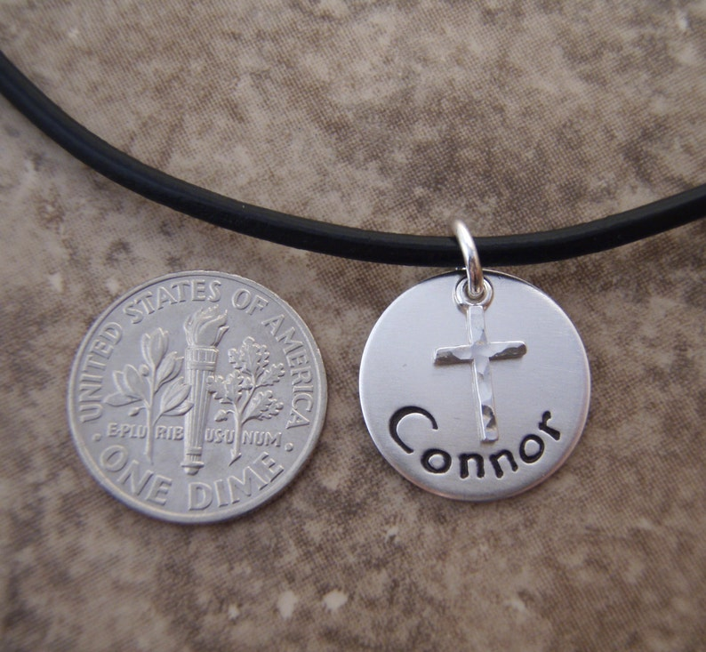 Photo NOT actual size Name and Date charm Boy/'s cross necklace Boy/'s First Communion necklace Bible bearer gift