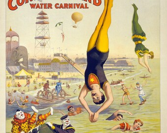 Vintage Circus Poster The Great Coney Island Americana Carnival Print