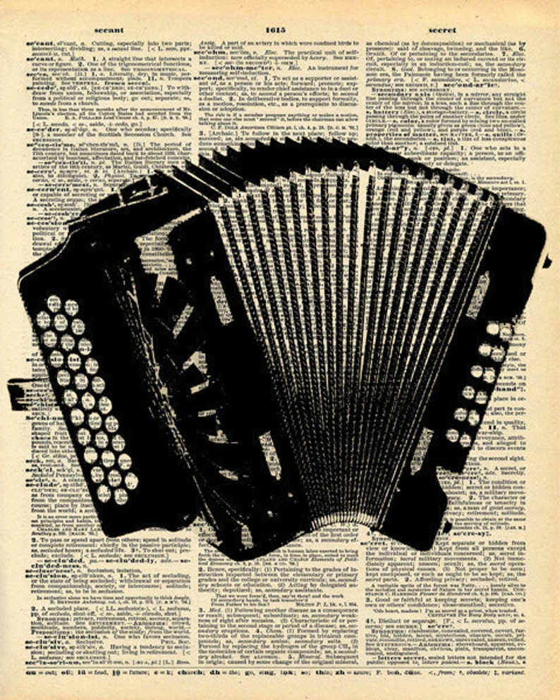Vintage Dictionary Print - Accordion - Folk Music Instrument - Recycled  Antique Book Print - Antique Book Print