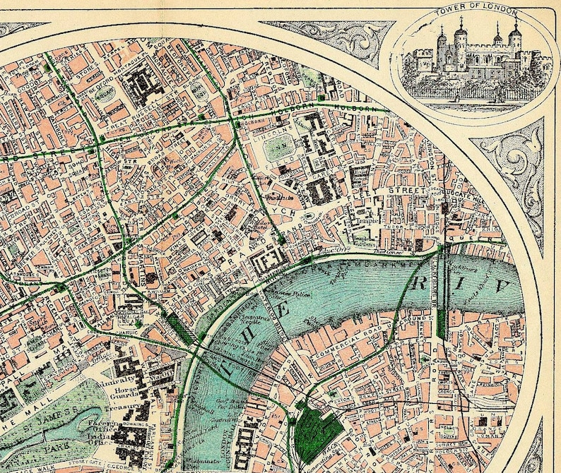 Travel Map London.Antique London Map Travel Victorian London Antique British Vintage Reproduction Map Engraved Green Grey Blue London England Thames