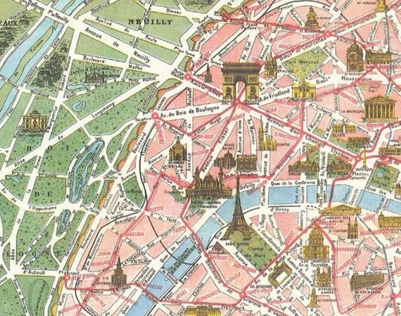 Vintage Paris Tourist Map \