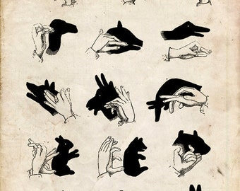 """Vintage Illustration """"Shadow Puppets"""" Antique Silhouette Print - Children's Print - Hands Animals Whimsical Nursery Art - Circus Anatomical"""