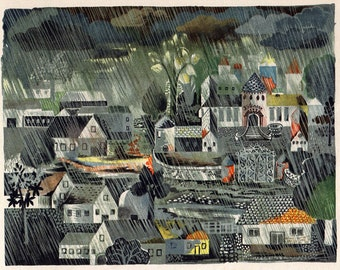 Dark German Fairy Tale Art - Rainy Village - Rain Clouds - Mid Century Illustration - Black Green Blue
