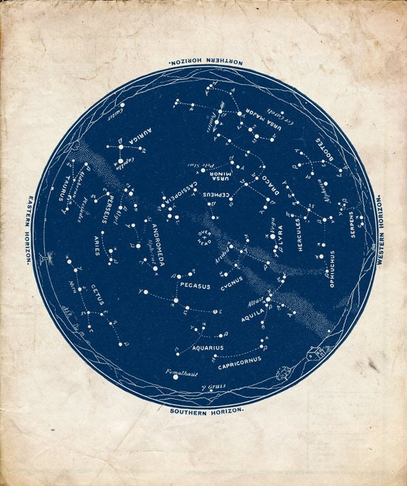 c1e3fadb80750 Vintage Constellations Print Celestial Map Outer