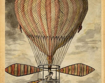 "Hot Air Balloon ""Strange Invention"" Steampunk Victorian Antique Print  - Striped Circus Carnival - Red Brown Black Sepia - Whimsical Art"