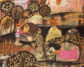 "Digital Download - Vintage Soviet Surreal Print ""Russian Fairy Tale"" Folk Art Fairytale Illustration - Colorful Weird Print"