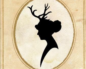Digital Download - Papercut Art - Elegant Silhouette - Deer Antlers - Woodland Whimsical Art Print - Elegant Nursery Art Vintage Fairy Tale