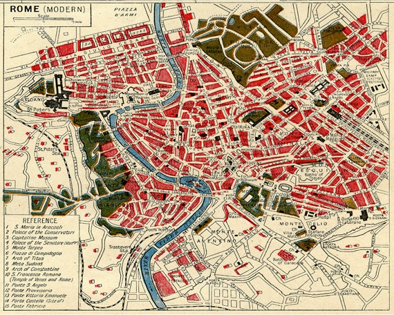 Vintage European Italy Map Print Modern Rome Etsy
