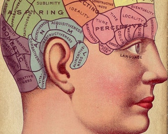 Digital Download - Vintage Surreal Art -Phrenology Chart - Antique Medical Illustration - Fortune Telling Occult Anatomical
